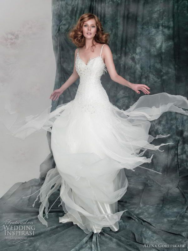 2011 wedding dresses by Alena Goretskaya - Artemia poskoshnoe corset wedding dress with embroidered bodice and  skirt with beaded cords and crystal beads. Straps decorated with crystal brooch.