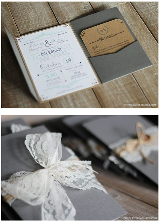 Really liking the vintage look of the pocket invitation... ooooowwwww! Do I see a trip to Michaels in our future?