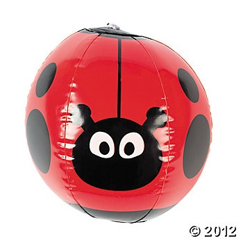 Inflatable Ladybug Character Beach Balls (party favor idea, great for the little boys)