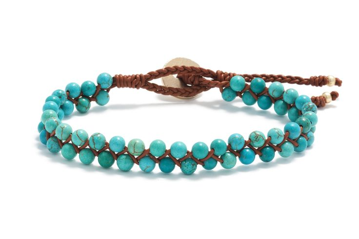 Turquoise and leather bracelet <3