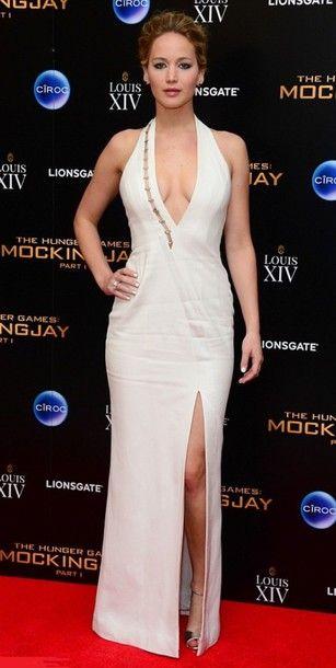 Jennifer Lawrence in a v-neck #dress   ..rh