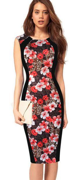 Print Sleeveless Bodycon Scoop Knee-length Dress