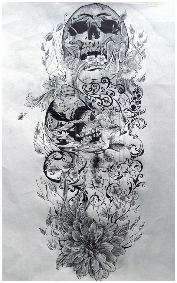 awesome skull ideas   skull sleeve tattoo designs - Popular Tattoo Design by anita