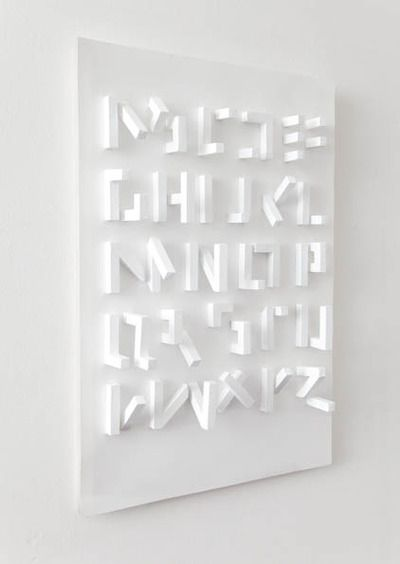 3D typeface only visible from one angle by stefan abrahams