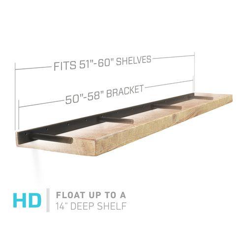 Heavy Duty Floating Shelf Brackets (bracket only): Fits 51 through 60 inch Floating Shelves, including 60 inch floating shelves.