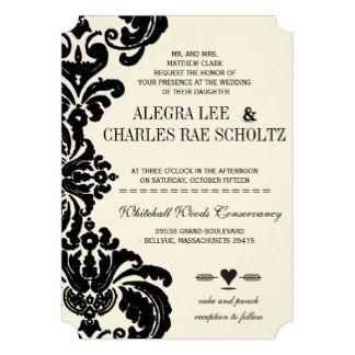 die cut vintage black damask wedding 5 x 7 invitation card