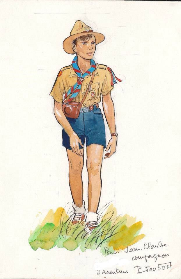 """Official uniform for a French Scout.  - """"Healthy Christian moral values make for happier kids & and a greater nation."""""""