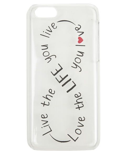 "I want this 5c case from Wet Seal! It's clear so it'll still show the lime green through! #infinity #quote Sport positive vibes with this clear iPhone 5C case featuring a printed saying ""Live the Life You Love, Love the Life You Live"" in an infinity shape. The case snaps on easily and is functional including cutouts for all the important buttons and connections. Man Made Materials Imported"