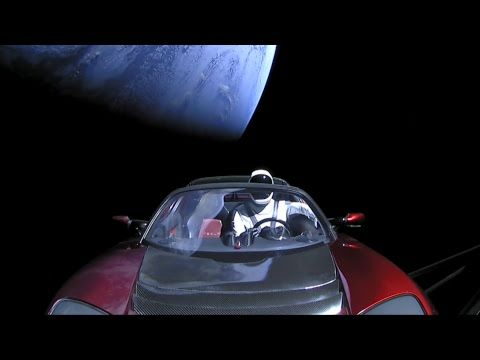 Starman -  Live views of Starman heading out into space.  On Feb 6, 2018 the first SpaceX Falcon Heavy Test Flight launched Elon Musk's 2008 'midnight cherry' Tesla Roadster car into space, heading for Mars.  Music played for the release of the Tesla payload was David Bowie's 'Starman'.  Space exploration, science.