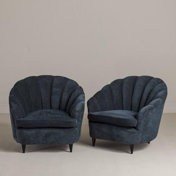 "Vendor: Talisman  Product: French Shell Back Armchairs 1930s on tapered Ebonised Legs  Specs:Height 31.5"" Width 33.5"" Depth 34.3"""
