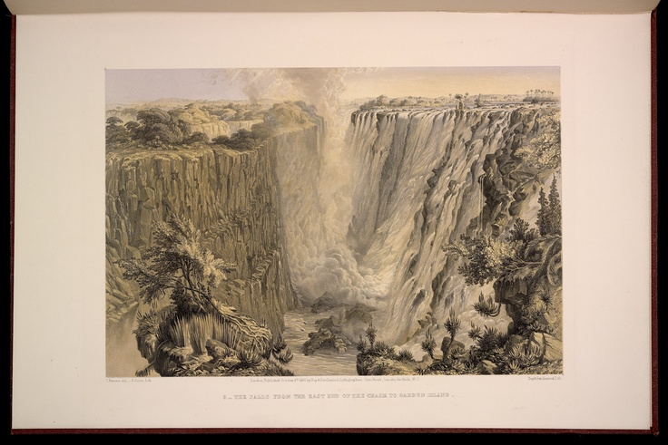 Plate 9: The Falls from the East End of the Chasm to Garden Island.