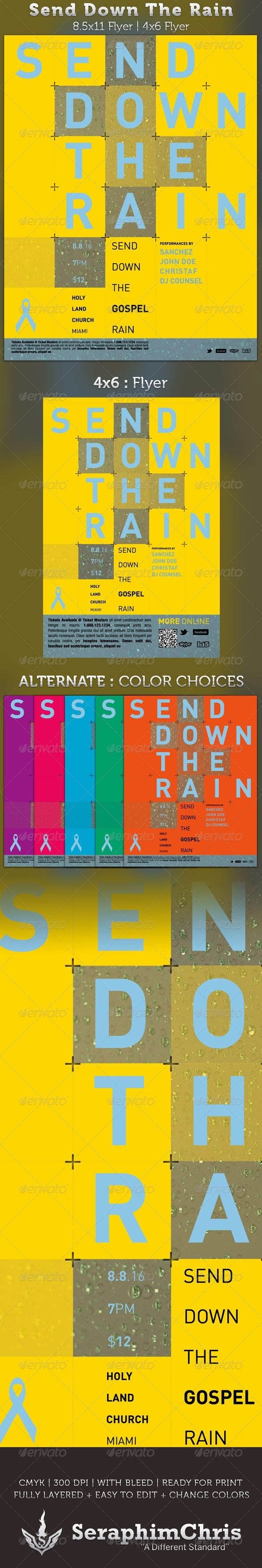Send Down the Rain Gospel Concert FLyer - GraphicRiver Item for Sale