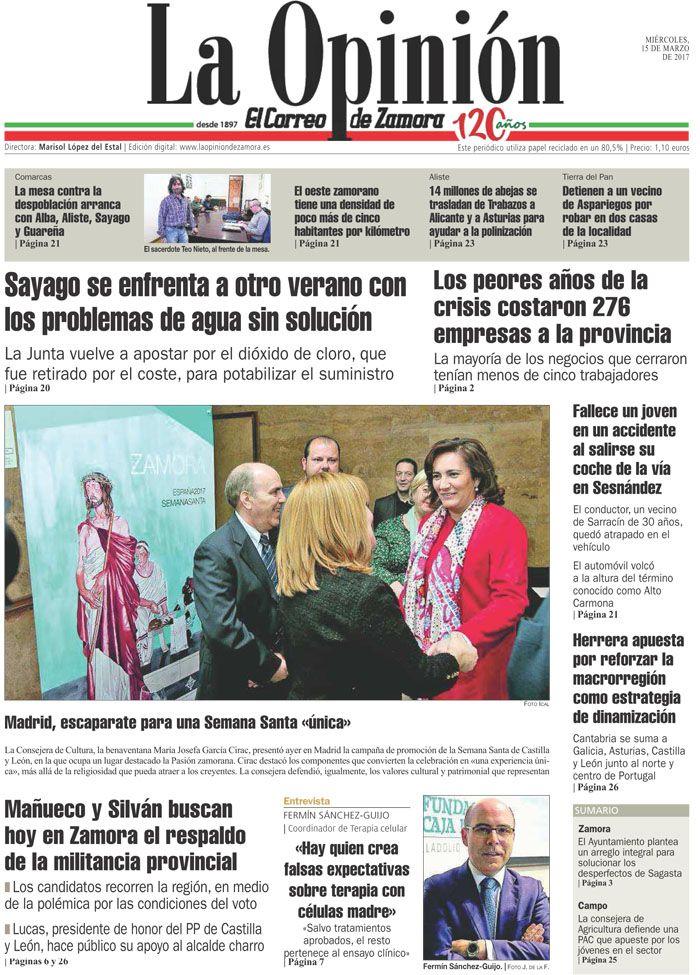 Portada de La Opinión-El Correo de Zamora del 150317. Más noticias en www.laopiniondezamora.es