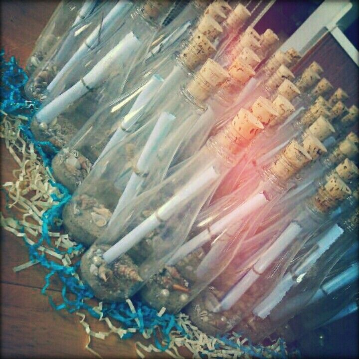 Beach Themed Bridal Shower Invitations Message In A Bottle Style