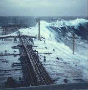 Rouge wave breaking over the deck of an oil tanker