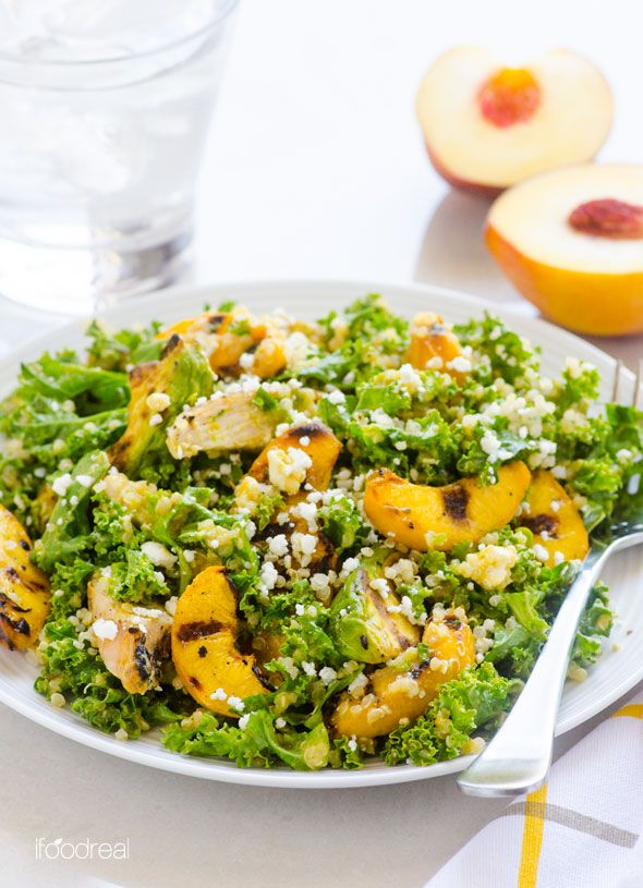 Grilled Peach, Avocado and Chicken Kale Quinoa Salad -- Superfood one meal salad with Peach Ginger Dressing. Perfect for hot summer days.