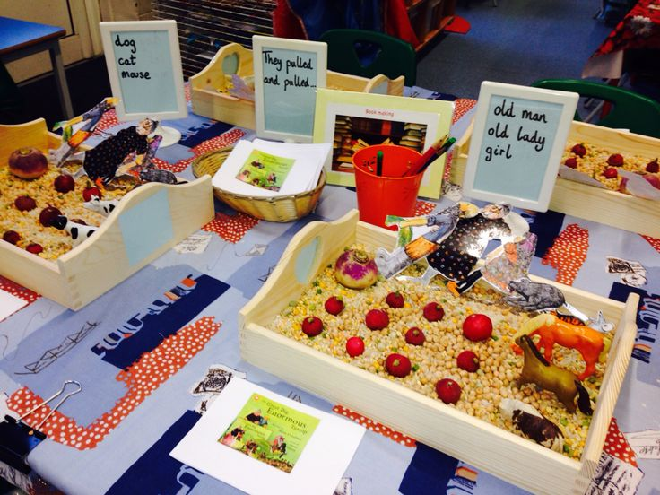 The Enormous Turnip- traditional tales, reception literacy table. Puppets, role play, book making, key words. EYFS