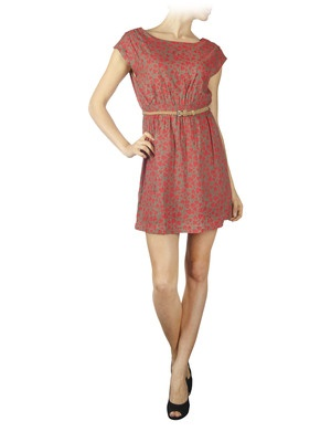 SPRING LOVE SS BELT DRESS, DUSTY OLIVE