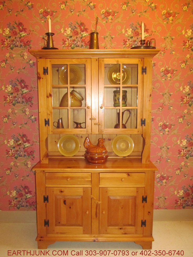 Ethan Allen Country Craftsman Pine China Hutch Cabinet 19