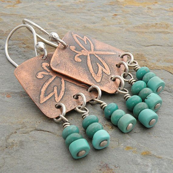 Etched Copper Earrings Turquoise Dragonflies by CarolBradley, $39.00