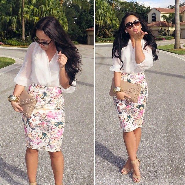 c28667260d Floral Pencil Skirt Outfit - Redskirtz