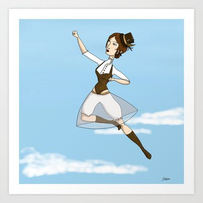 19th century super heroine Art Print by Constance Macé - $14.48