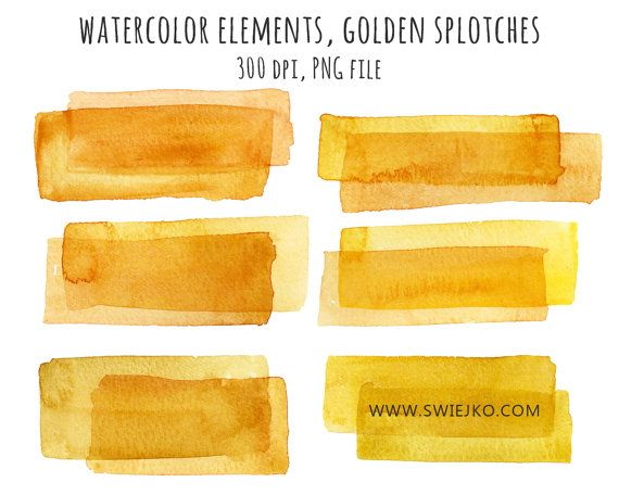 Watercolor Clipart, Watercolor Splotches, Gold Stripe, Watercolor Marks, Digital Watercolor, Blog Buttons