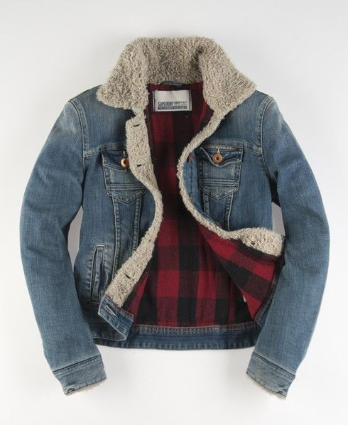 Denim fur lined jacket mens