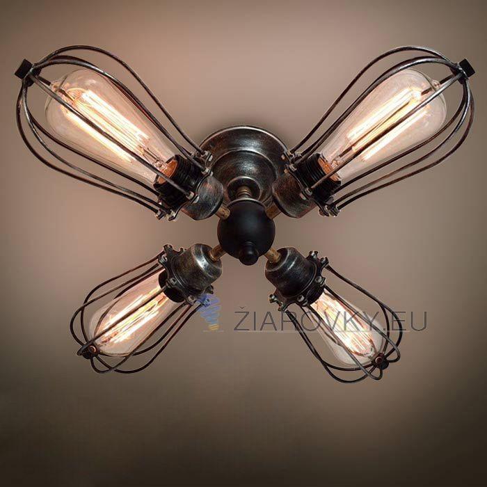 Historické nástenné svietidlo s štyrmi päticami a okrúhlymi klietkami je svietidlona dve žiarovky typu E27 je svietidlo určené na stenu v retrovzhľade