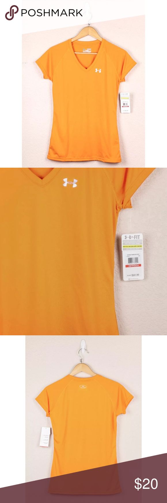 UNDER ARMOUR Orange Semi Fitted VNeck Short Sleeve UNDER ARMOUR Orange Women's Semi Fitted V-Neck Heatgear Short Sleeve T Shirt XS Under Armour Tops Tees - Short Sleeve