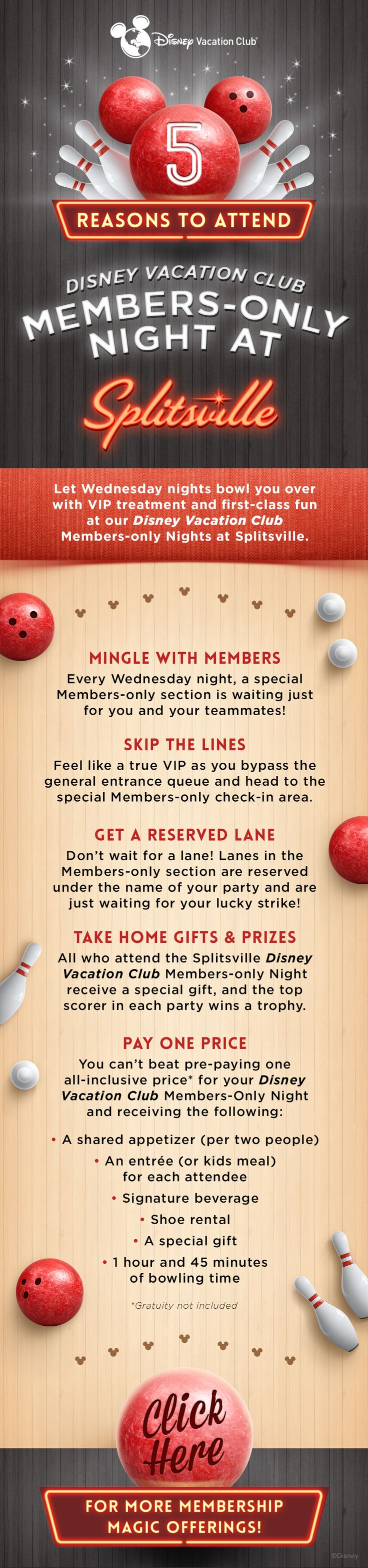 Let Wednesday nights bowl you over with VIP treatment and first-class fun at our Disney Vacation Club Members-only night at Splitsville Luxury Lanes!