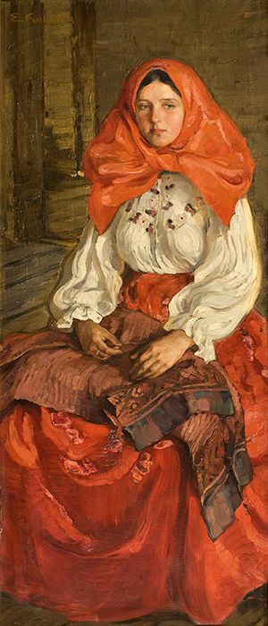 Девушка в красном Елена Андреевна Киселева 1907