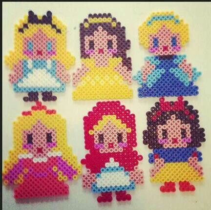 disney princess perler beads... I wonder if I would have the patience to make these into Christmas Ornaments.