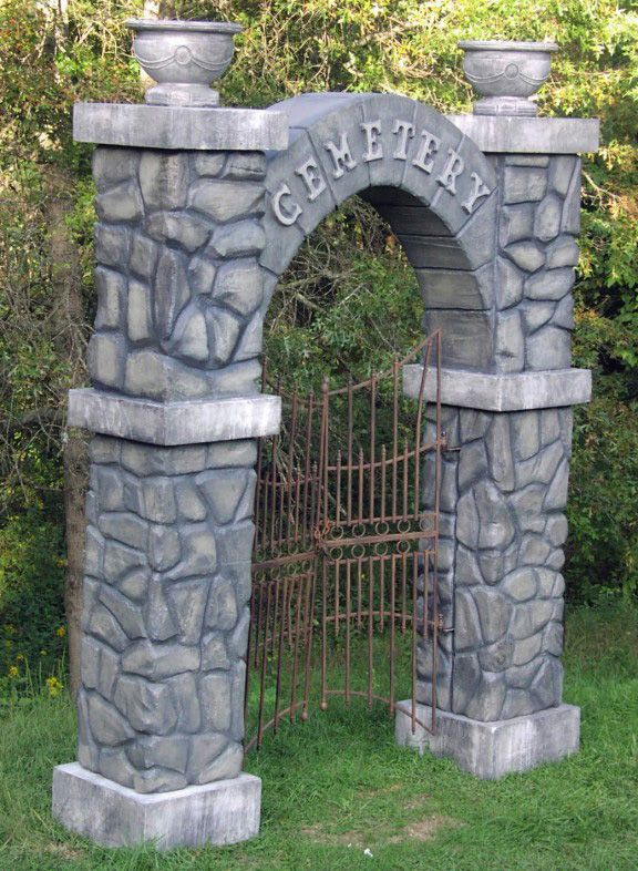 Carved foam Cemetery entrance and tombstones using Hot Wire Foam Factory tools.