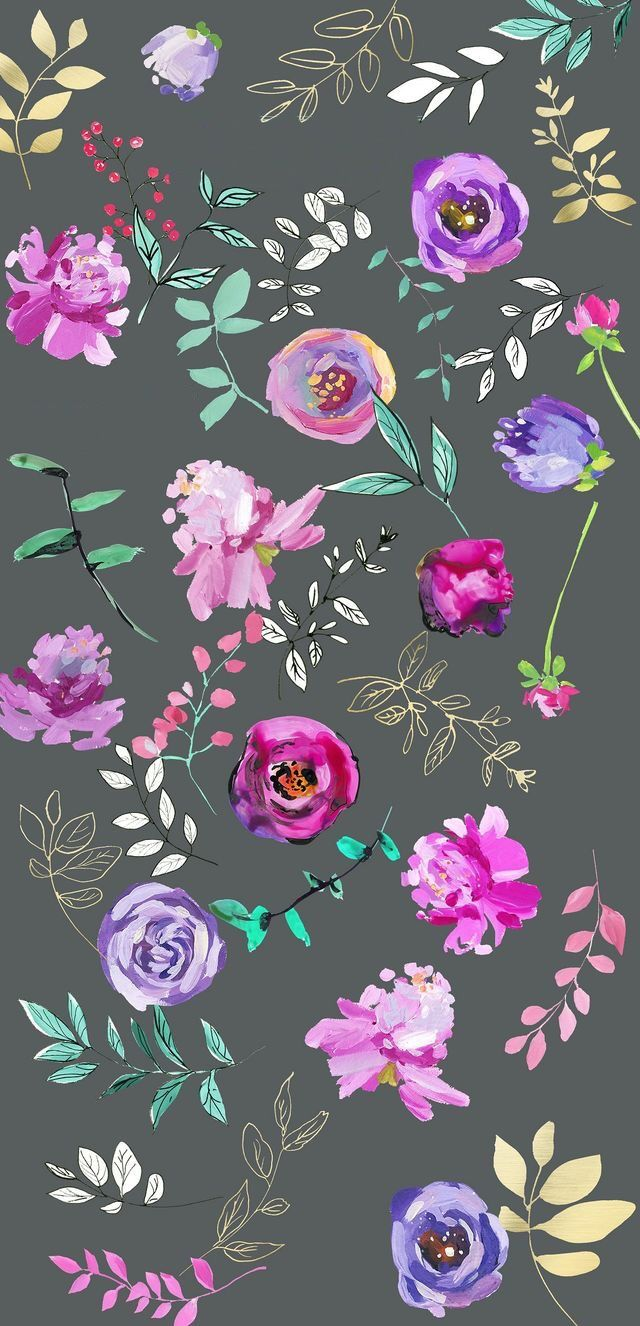 Purple Floral Print On Grey Background