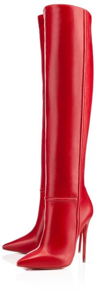 "Red Armurabotta | Christian Louboutin | Cynthia Reccord | The ravishing red ""amurabotta"" is one of the most provocative styles in our fall/winter season. Just slightly over the knee, this single sole, stiletto boot is simply stunning #red #boot"