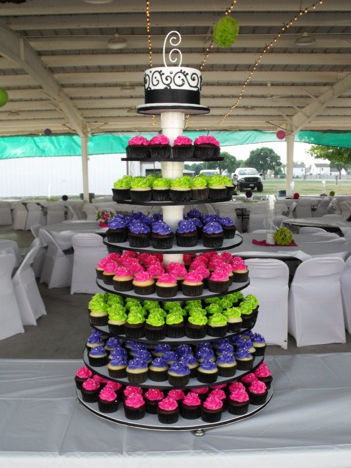 Hot Pink Lime Green And Purple Wedding Cupcake Tower