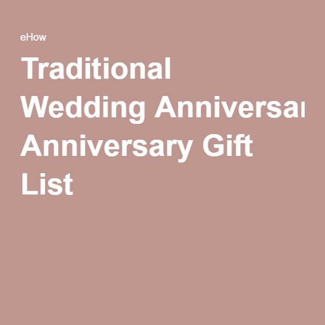 Traditional Wedding Anniversary Gift List