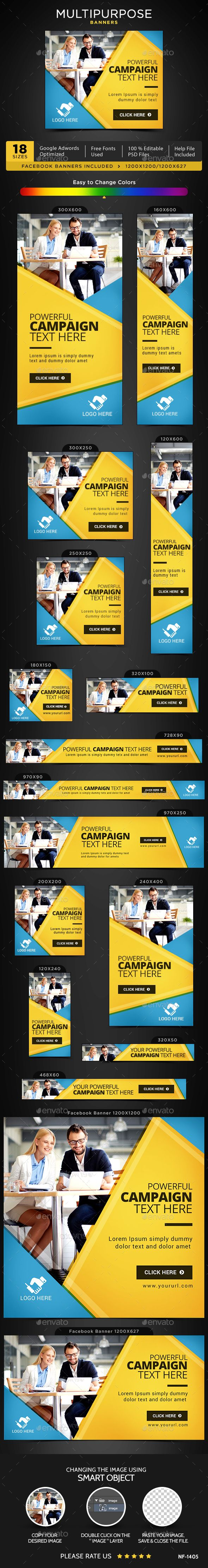 Multipurpose Banners Design - Banners & Ads Web Template PSD. Download here: http://graphicriver.net/item/multipurpose-banners/16936092?ref=yinkira