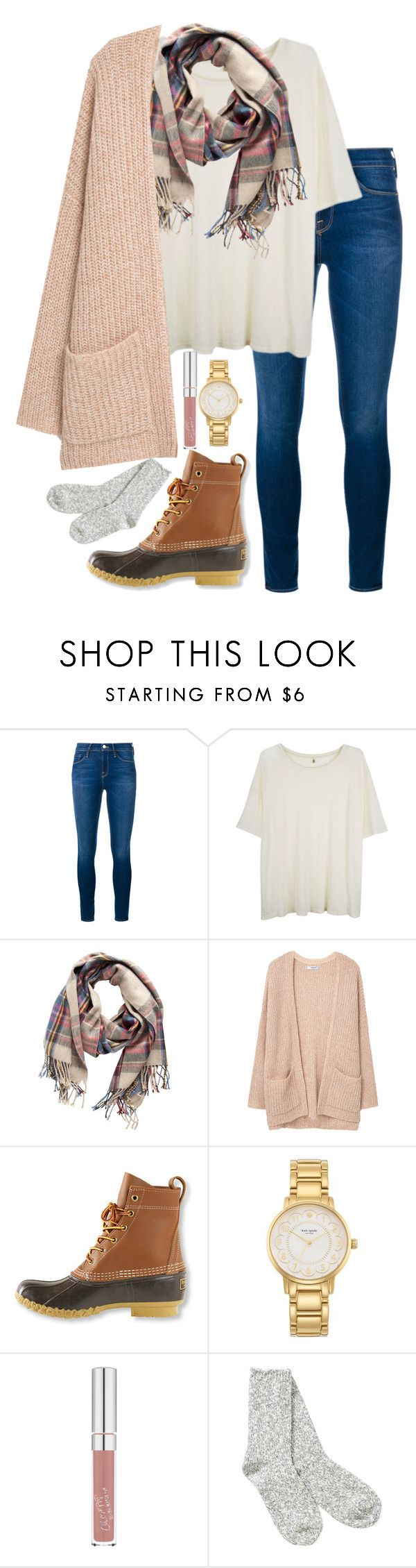 """November and 80 degrees outside"" by valerienwashington ❤ liked on Polyvore featuring Frame Denim, R13, Pieces, MANGO, L.L.Bean, Kate Spade and TNA More"