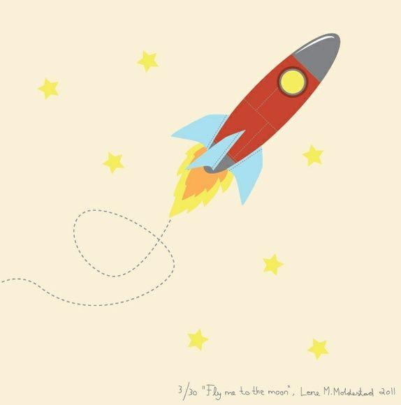 "Signert barneromsbilde / signed poster  - ""Fly me to the moon"""