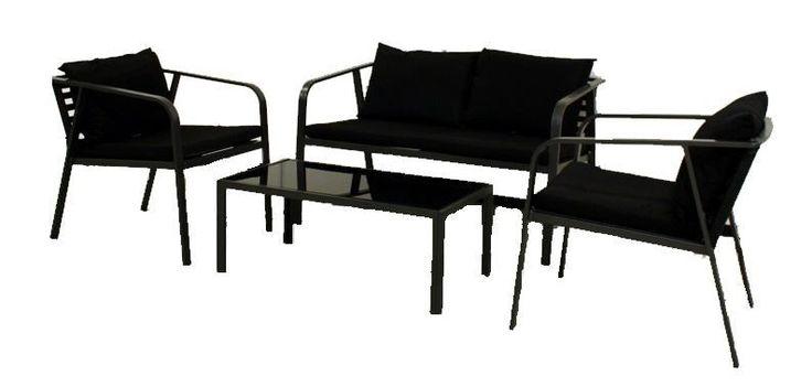 Enkle aluminium møbler til hagen, balkong og utebruk Består av 2 stoler (D/65 B/57), sofa (D/65 B/113) og bord (D/45 B/85 H/35) Flatpakket Frakt kommer i tillegg