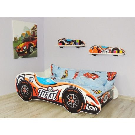 'Twist' classic designer racing car bed - vibrant orange and white - The Little Bedroom Company