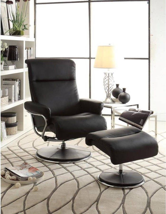 Caius Black Bonded Leather Swivel Reclining Chair with Ottoman