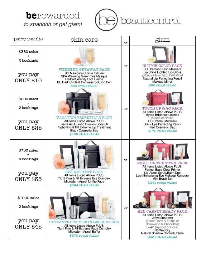 Hostess incentives for BeautiControl Spa or Glam Party. Great packages you can earn for being a hostess! www.beautipage.com/mindyclark