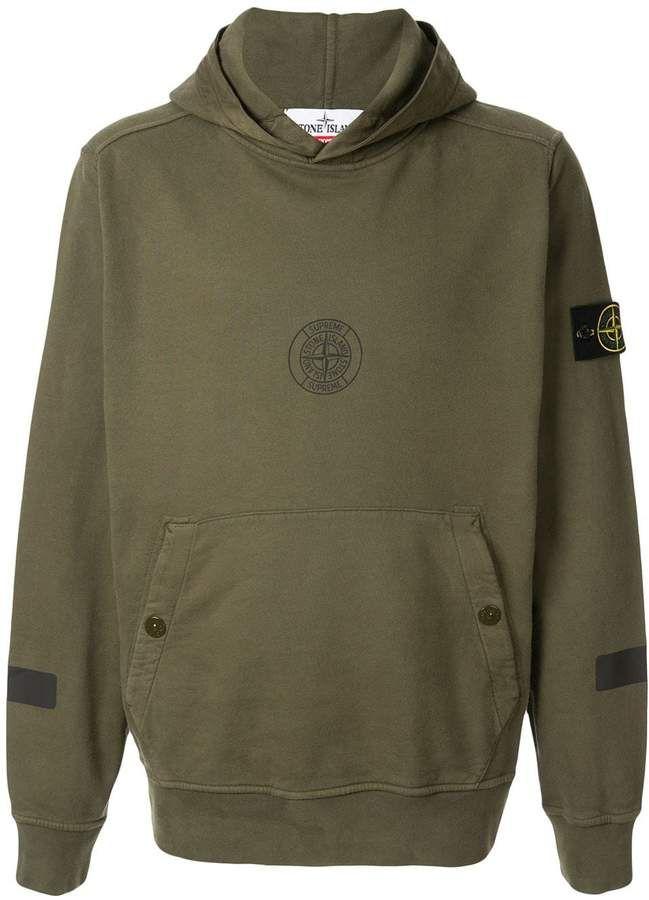 Supreme Stone Island Hooded Sweatshirt Farfetch Hooded Sweatshirts Sweatshirts Supreme Clothing