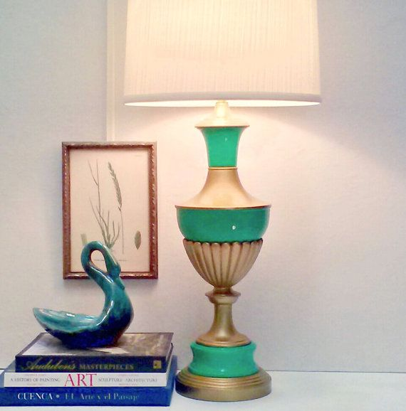 New listing emerald green gold hollywood regency lamp refurbished updated vintage lamp