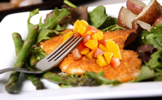Lunch/Dinner: Epicure's Crispy Fish (180 calories/serving) serve with baby greens and roasted potatoes
