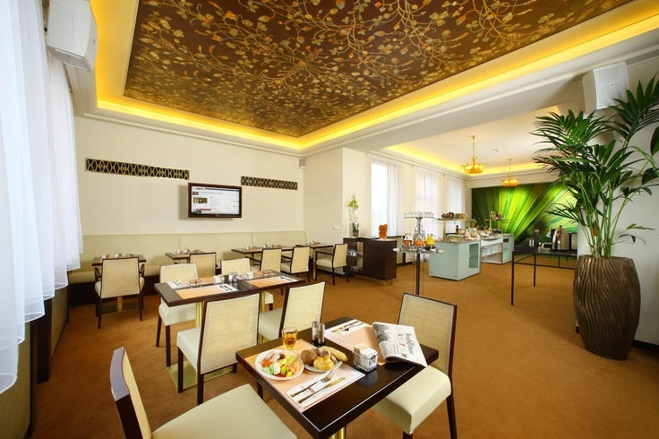 Club Lounge area - this is the breakfast area in the 14th Floor of the Crowne Plaza Prague hotel.