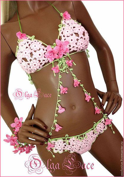 """Купить Вязаный купальник из коллекции """"Flowers"""" - бледно-розовый, цветочный, Вязаный купальник, вязаные колокольчики"""
